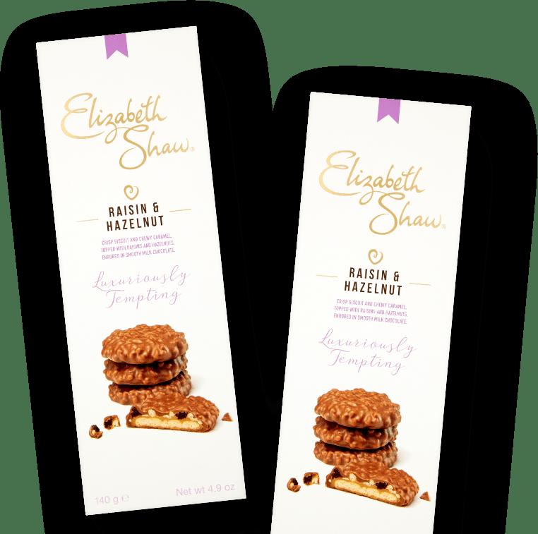 Elizabeth Shaw Raisin and Hazelnut biscuits header pack