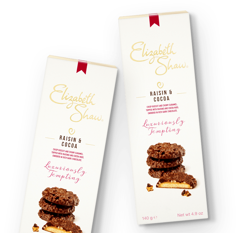 Elizabeth Shaw Raisin & Cocoa Biscuits pack
